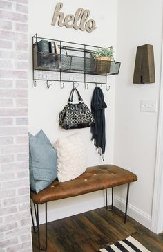 Entry way idea - DIY Tufted Leather Bench with Custom Hairpin Legs