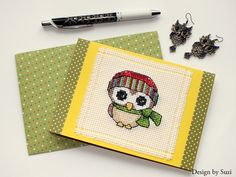 Rhona Norrie - What a Hoot Cross Stitching, Owl, Tags, Pillows, Design, Owls, Cushions, Pillow Forms