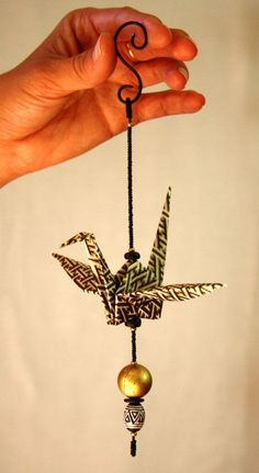 Origami & Beaded Paper Crane Mobile Hanging Ornament with origami folded star instead of golden pearl at the end. Origami Folding, Paper Folding, Origami Paper, Origami Cranes, Paper Cranes, Hanging Origami, Oragami, Origami Ornaments, Hanging Ornaments