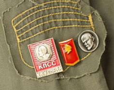 Soviet pins badges red  silver tones Lenin profile by SovietEra, $10.00