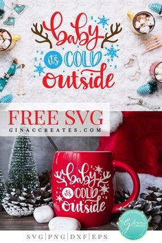 Baby It's Cold Outside Free SVG Cut File - baby it's cold outside free SVG cut file - Cricut Christmas Ideas, Christmas Mugs, Christmas Vinyl, Xmas, Christmas Store, Christmas Printables, Cricut Svg Files Free, Free Svg Cut Files, Cricut Fonts