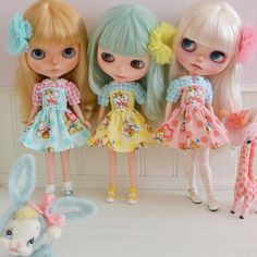 Comparison photo  3 different body types wearing my dresses from the left  Bridget (Takara) Wendy (licca) Kitty (Azone S) @sweet_petite_shoppe #sweet_petite_shoppe #photoshoot #groupshot #blythe #blythephotgraphy Blythedress #blythelove #blythedolls #blythedress