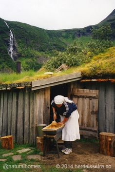 Mixing the whey for a caramelised brown cheese, in Norwegian called brunost, at one of Norway's summer farms. More at www.naturalhomes.org/timeline/innerdalen-green-roofs.htm