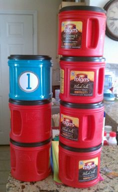 Game Storage Idea.  Unfortunately with how much coffee I drink, getting enough canisters shouldn't be a problem.