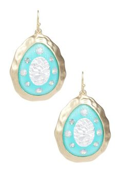 Floria Hammered Enamel Teardrop Dangled EarringS