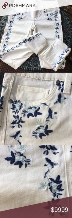 """Genetic Denim Ivory Floral Jeans New!  See plastic piece. Beautiful jeans with blue floral design by Genetic Denim Waist=15"""" Rise=7.5"""" Inseam=29"""" Genetic Denim Jeans Skinny"""