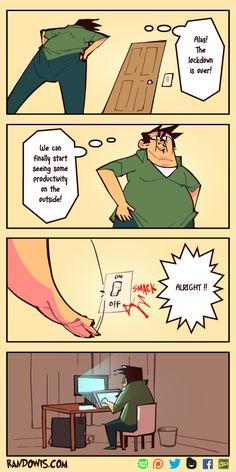 Randowis Comics, Life Comics, Horror Comics, Really Funny Memes, Stupid Funny Memes, Hilarious, Funny Cartoons, Funny Comics, Adam Ellis Comics