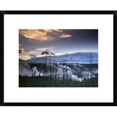 Global Gallery Norris Geyser Basin with Steam Plumes from Geysers, Yellowstone National Park, Wyoming by Tim Fitzharris Framed Photographic Print S...