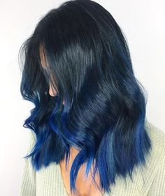 Blue Ombre and Balayage Hair Color, blue highlights Hair Dye Colors, Ombre Hair Color, Hair Color For Black Hair, Cool Hair Color, Green Hair, Blue Ombre, Pulp Riot Hair Color, Hair Dye Tips, Hair Highlights