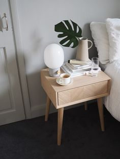 Simple ways to spruce up your bedroom this summer, with Houseology [AD] - cate st hill - QUEEN SLUMBER - Chevron pattern wooden bedside table. Simple ways to spruce up your bedroom this summer, with House - Bedside Table Decor, Wooden Bedside Table, Bedside Tables, Bedside Table Styling, Side Tables Bedroom, Nightstand, Bedroom Furniture, Home Furniture, Furniture Design