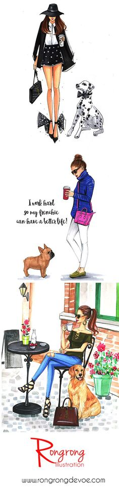 Fashion illustrations of fashion ladies and their dogs by Houston fashion illustrator Rongrong DeVoe. More fashion illustrations visit her shop at www.rongrongillustration.etsy.com #FashionIllustrations