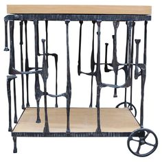 Anonymous, Sculptural Hand Forged Iron Bar Cart, 1970s.