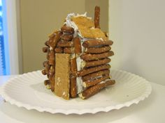 Make a log cabin . . . out of pretzels!