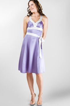 Island Importer - Silk Sarah Dress - This 100% silk, dual-tone beach bridesmaid dress will boast your accent color with its extra-long sash that wraps around the mid-riff and ties in front.  Unique back closure features elegant covered buttons. Custom order this dress according to your size and color specifications.  Shown in all-silk Victorian lilac, accented with ivory.