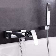 122.85$  Buy here - http://ali0wu.worldwells.pw/go.php?t=32696543191 - 2017 Wholesale High Quality Brass Construction Chrome Square Style Wall Mounted Bathutub Mixer Taps Waterfall Bath Shower Faucet 122.85$