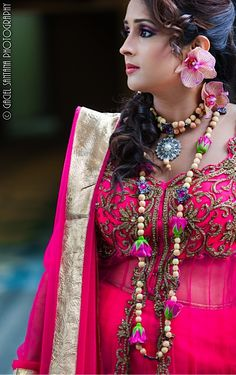 Anirika indian flower wedding jewelry with pink roses via IndianWeddingSite.com