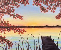"@PaintNite 31Aug2015 ""Autumn Dock"" by artist Robin Westler. >> http://www.PaintNite.com  #summer #cannonball #fishing"