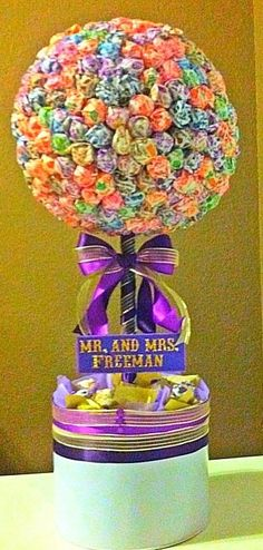 Items similar to Wedding Lollipop Tree (Any color theme available) Party Candy Buffet,Station,Centerpiece or gift on Etsy Sweet Wedding Favors, Wedding Sweets, Wedding Candy, Gold Wedding, Diy Wedding, Buffet Wedding, April Wedding, Wedding Ideas, Wedding Reception