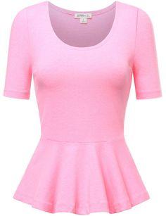 FPT Womens Short Sleeve Crewneck Jersey Peplum Top at Amazon Women's Clothing store: