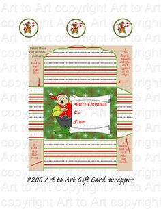 Printable GIFT CARD envelope. 206 Elf Jolly red and by ArtToArt,