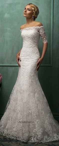 Sweetheart Lace Mermaid Wedding Dresses With Half Sleeve Jacket Amelia Sposa Bridal Gowns Zipper Back 2016 New Modern Custom Vestidos Amelia Sposa Wedding Dress, Wedding Dresses 2014, Wedding Attire, Bridal Dresses, Wedding Gowns, Lace Wedding, Lace Dresses, Amelia Wedding, 2017 Wedding