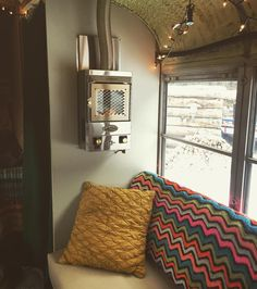 Got our propane heater running just in time for single digit temps and up to a foot and a half of snow heading our way! School Bus Camper, Rv Bus, Tiny House Living, Rv Living, Gypsy Trailer, Converted School Bus, Little White House, School Bus Conversion, Bus House