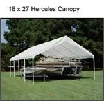 Hercules Open Canopy 18 x 27: A 20 gauge powder coated steel frame has 10 2 diameter legs that provide additional durability and stability for this very functional canopy.  The frame is covered by a white canopy cover that hangs over the sides of the structure as well as the 4 corner legs. #CanopiesOutlet