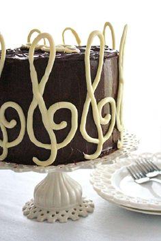 SugaryWinzyGClefBirthdayCake5- Chocolate Marble Cake, Melting White Chocolate, Round Cake Pans, Wax Paper, Corn Syrup, Cocoa, Birthday Cake, Birthday Cakes, Theobroma Cacao