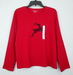 Croft Barrow Petites Christmas Top Red Size PXL Cotton Blend Long Sleeve Casual - Center front black flocked reindeer embellishment is featured on  this Petites Christmas red knit top which would be perfect  for the holiday season.