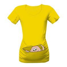 Originální těhotenské tričko s vykukujícím miminkem. Srandovní a vtipné tričko s perfektním nápadem.