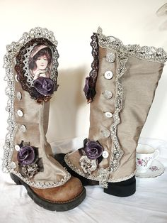 Gold Steampunk Gaiters  Spats by ProfMaelstromme on Etsy, $86.00