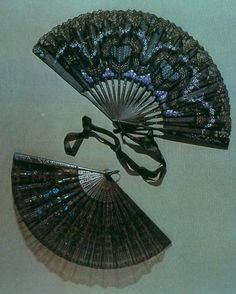 """Mourning Fans: probably 18th century. """"One widow's fan from 1751 is inscribed with an irreverent quote that pokes fun at the culture of mourning: 'Here lies Fred, who was alive and is dead; Had it been his father, I had much rather; Had it been his brother, still better than another; Had it been his sister, no one would have missed her; Had it been the whole generation, Still better for the nation; But since 'tis only Fred, who was alive and is dead, There's no more to be said.'"""""""