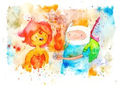 Finn and Flame Princess Archival Print 8.5x11 inch inch inkjet / Adventure Time Fan Art Watercolor Painting. $10.00, via Etsy.