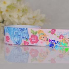 """10yards 1"""" 25mm rose princess printed ribbon, pretty princess blue color grosgrain ribbon-in Ribbons from Apparel & Accessories on Aliexpress.com"""