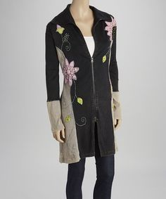 Another great find on #zulily! Black & Gray Embroidered Zip-Up Jacket by Kathmandu Imports #zulilyfinds