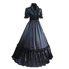 0b1f2f54772d Amazon.com: Partiss Women Lace Ruffles Fancy Dress Gothic Victorian Lolita  Dress: Clothing