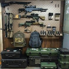 Gun wall. I need this Gun Storage, Weapon Storage, Airsoft Storage, Cool Guns, Arma 3, Tactical Survival, Tactical Gear, Tactical Wall, Survival Weapons