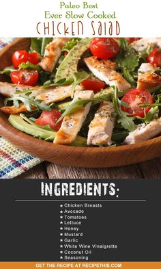 Slow Cooker Recipes | Welcome to my Paleo best ever slow cooked chicken salad recipe from RecipeThis.com