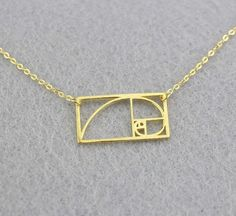 Fibonacci golden ratio mathematics necklace 925 by ATHENAEJewelry