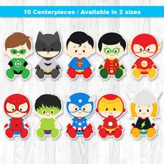 Superhero Baby Centerpiece Digital File INSTANT DOWNLOAD * This is printable file and no physical items will be mailed to you. ----------------------- ★★ Package Included ★★----------------------------------- You will received * 1 PDF file of 10 Characters neatly layout in 8.5 x 11 sheet separately (High Resolution) * 1 PDF file of 10 Characters neatly layout in 5 x 7 sheet separately (High Resolution) --------------------★★ INSTANT DOWNLOAD ★★-------------------- Once your payment has...