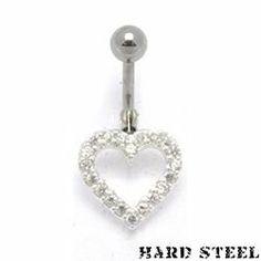 Hard steel cuore piercing ombelico in acciaio inossidabile - PBN-969
