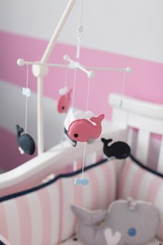 Project Nursery - Pink and Navy Whale Mobile