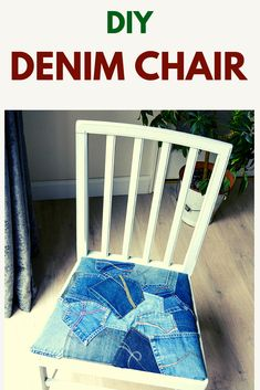 How to reupholster your dining room chairs using your old favorite jeans. This DIY Tutorial is full of tips and tricks Diy Furniture Hacks, Reupholster Furniture, Recycled Furniture, Handmade Furniture, Furniture Makeover, Shabby Chic Dining Room, Recycled Crafts, Recycled Denim, Dining Room Chairs