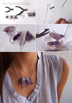 DIY Raw Crystal  Amethyst Necklace! So pretty, MUST make.