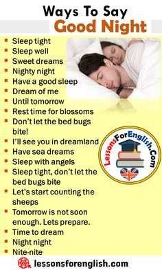 Other Ways To Say Good Night, English Phrases Examples Sleep tight Sleep well Sweet dreams Nighty night Have a good sleep Dream of me Un… English Learning Spoken, Teaching English Grammar, English Writing Skills, English Language Learning, English Lessons, English Sentences, English Phrases, Learn English Words, English Time