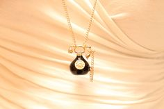 """Vintage 18k Gold Plated and Black Rotary Telephone Pendant Necklace with Choice of Chain length 16-30"""" + lobster clasp and extender"""