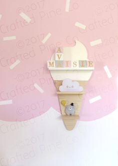 Beautiful handmade natural pine ice-cream cone shelf. • Choose from 8 ice cream colours • shelf measures 53cm high x 21cm wide x 11cm deep (21 x 8.75 x 4) • made from Scottish pine • finished with water based paint & water based varnish  These shelves make a stunning addition to any