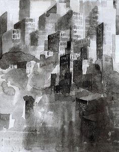 """The Black City"" by Konrad Stafinski - Acrylic on Cardboard - 32X25cm - 2015"