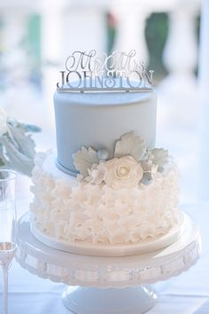 Tiered Pale Blue and Cream Wedding Cake