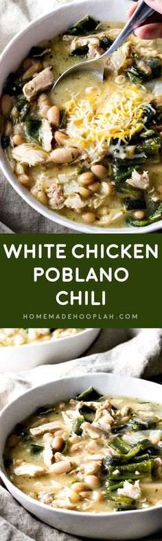 WMF Cutlery And Cookware - One Of The Most Trustworthy Cookware Producers White Chicken Poblano Chili! Boiled whole chicken, homemade chicken broth, tender chiles, and flavorful cannellini beans make this white chicken poblano chili an at-home favorite! Mexican Food Recipes, Soup Recipes, Chicken Recipes, Dinner Recipes, Cooking Recipes, Healthy Recipes, Chili Recipes, Pepper Recipes, Chicken Ideas